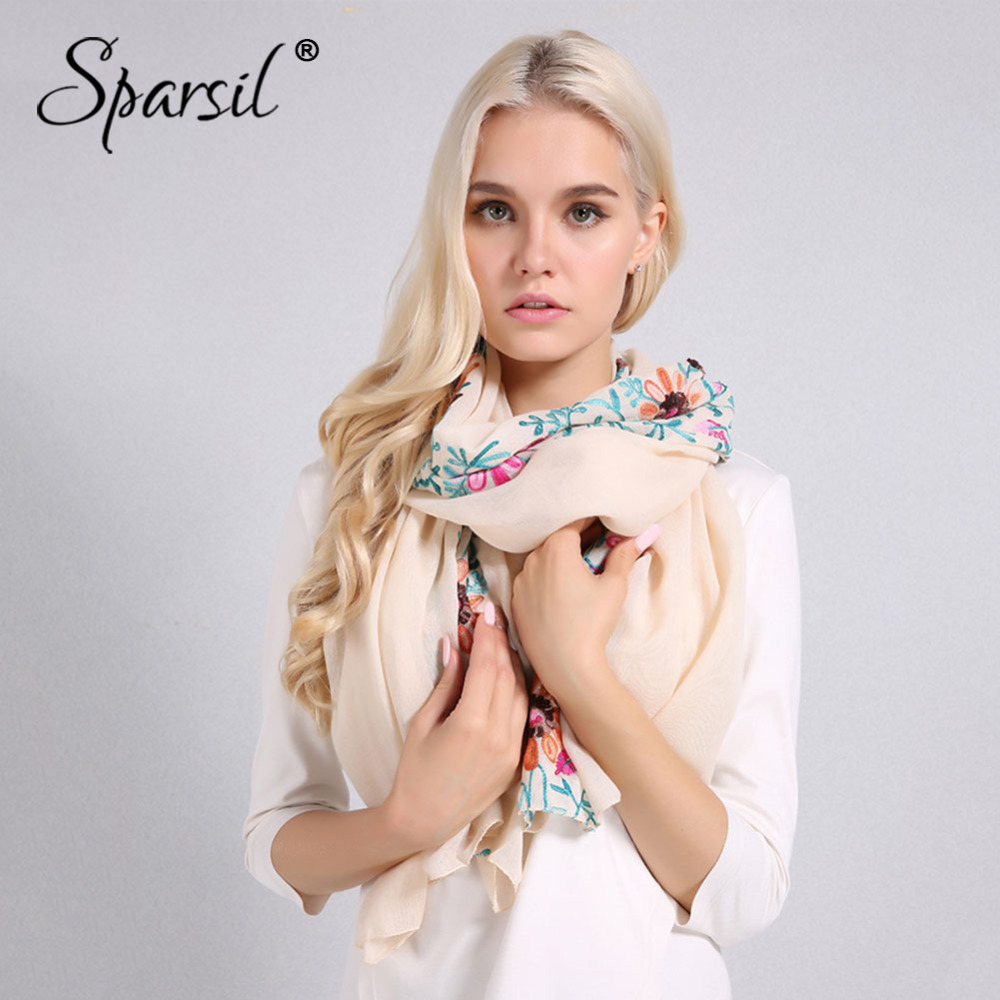 Sparsil Women New Embroidery Cotton Linen   Scarf   Soft Thin Summer Spring Flowers   Wraps   Big Size 170*90cm Muslim   Scarves   Shawls