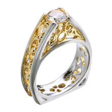 Vintage Silver Gold สวย 1ct AAA Cubic Zirconia Hollow Gold และ Silver สีดอกไม้สามเหลี่ยมแหวนผู้หญิ(China)