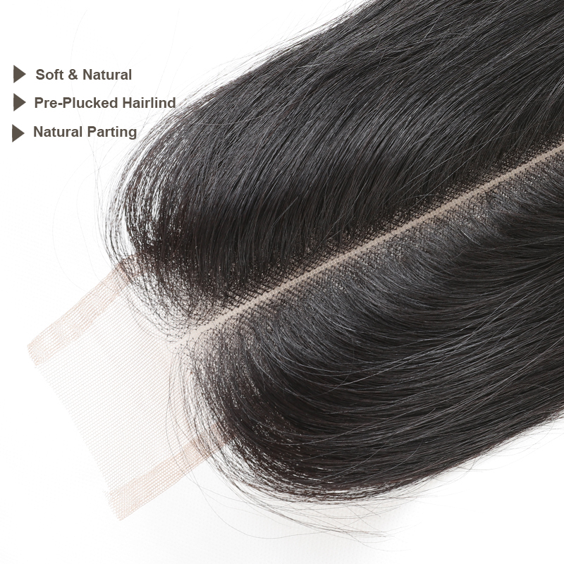 Ali Queen Human Hair Lace Closure Brazilian Straight Hair Closure 2X6 Middle Part 14-20inch In Stock Natural Color Virgin Hair