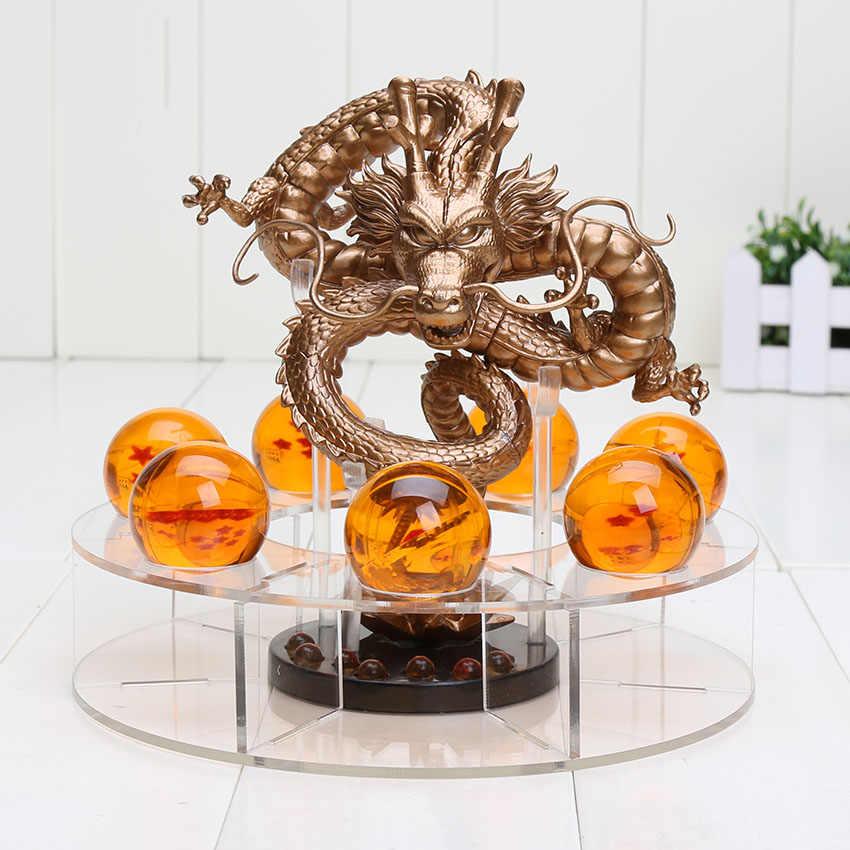 15cm dragão bola z figuras de ação shenron dragonball z figuras definir esferas del dragão + 7 pçs 3.5cm bolas + prateleira figurinhas dbz