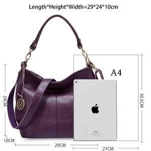 Image 5 - Zency charme violet femmes sac à bandoulière 100% en cuir véritable Hobos mode dame messager sac à bandoulière élégant femme sac à main