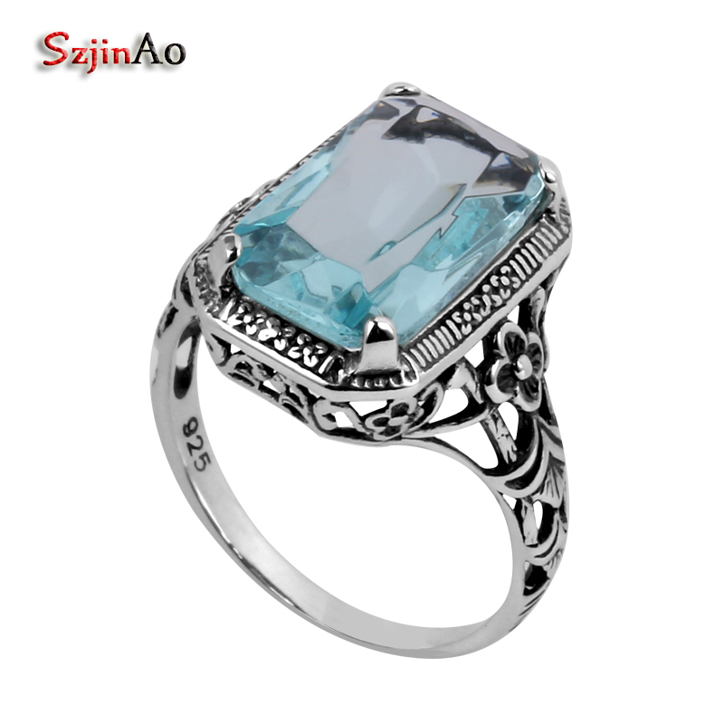 Szjinao Fashion 925 Sterling Silver Ring Flower Carving Antique Jewelry Wholesale Women Aquamarine Ring