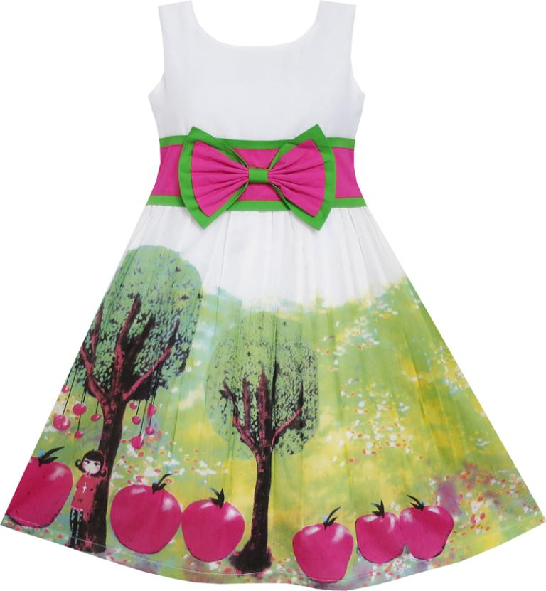 Sunny Fashion Girls Dress Apple Tree Bow Tie Summer Sundress Kids Clothing 2017 Summer Princess Wedding