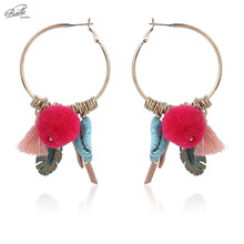 Badu Vintage Gold Earring Big Round Women 2017 Boho Fashion Hoop Earrings Red Pom Pendant Statement Jewelry Antique
