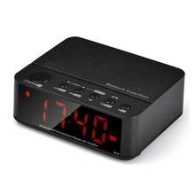 2017 новые Беспроводной мини Будильник Bluetooth V2.1 Динамик стерео музыку со светодиодной время Дисплей FM радио TF читатель оптовая продажа