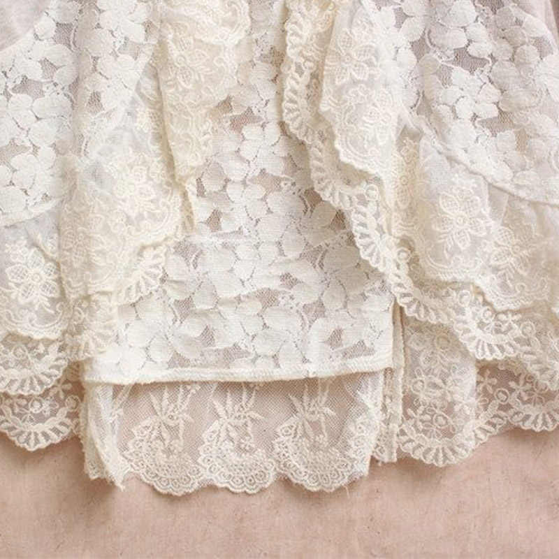 Женская блузка в стиле леса, белая кружевная блузка в стиле Лолиты с рюшами, кардиган с длинными рукавами, льняная кружевная блузка для девочек, U053