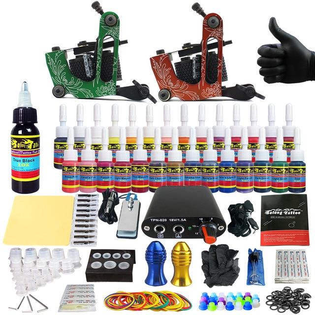 Solong Tattoo Completar Arranque Kit de Tatuaje para Principiantes 2 Pro Machine Guns 28 Tintas de Alimentación Aguja Grips Consejos TK204-15