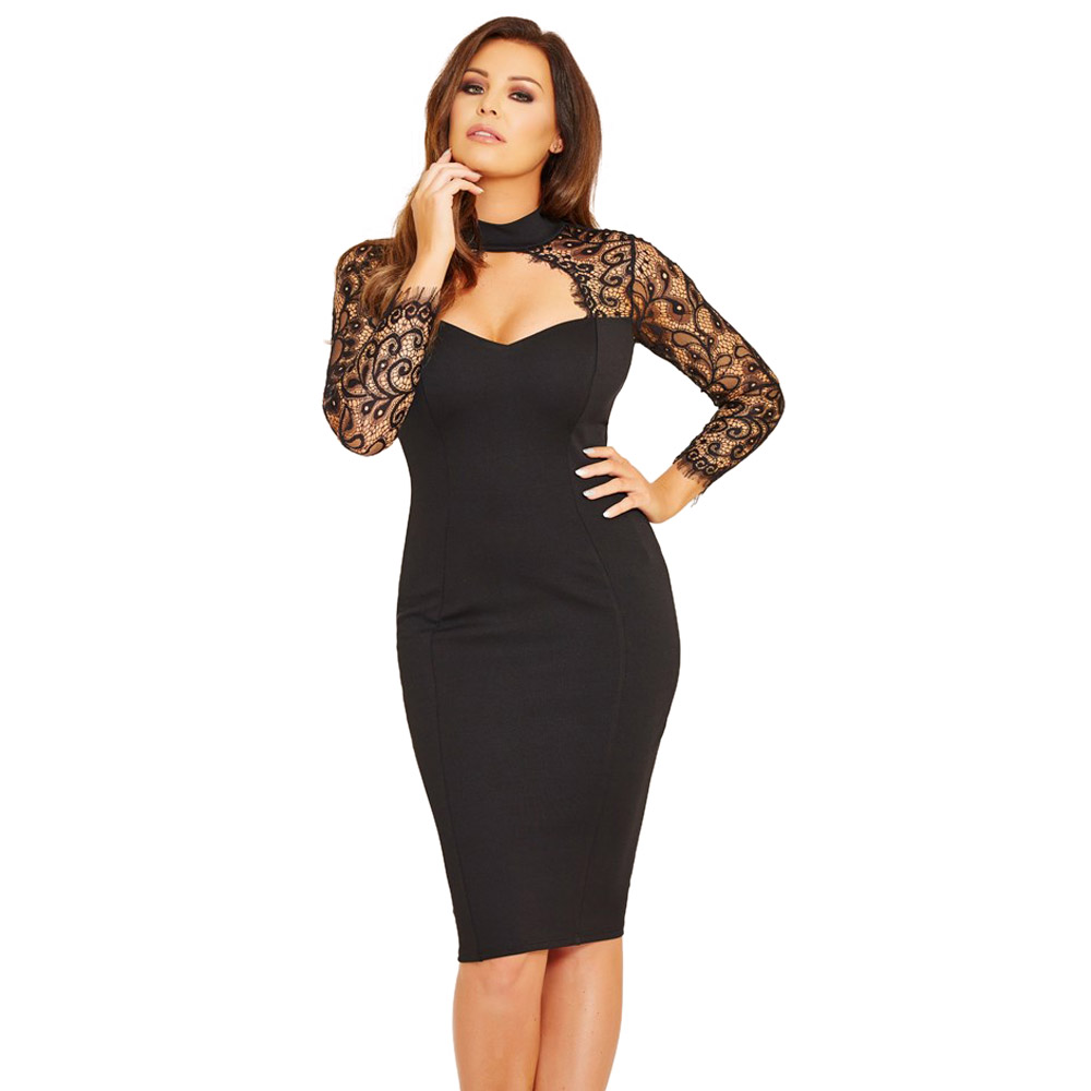 Wendywu Sexy Fashionable Lace Long Sleeve Solid Black Knee-Length Pencil Dress