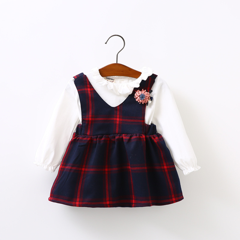 Baby Girls Dress 2017 Spring New Brand Girls Clothing Sets Kids Clothes Plaid Pattern Toddler Girl Long Sleeve Baby Dress Suits