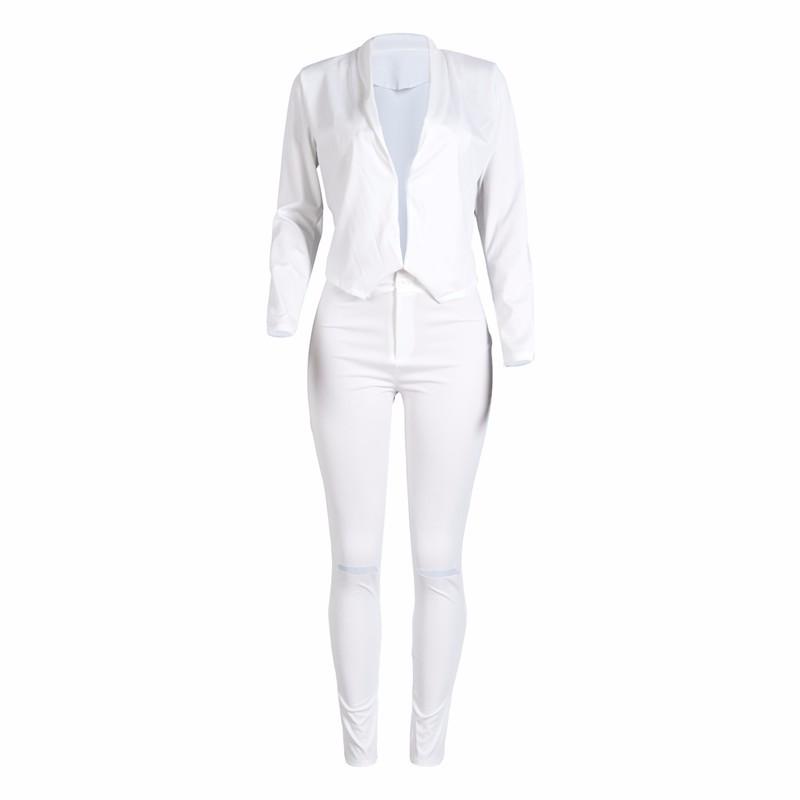 women white pants suits set -3