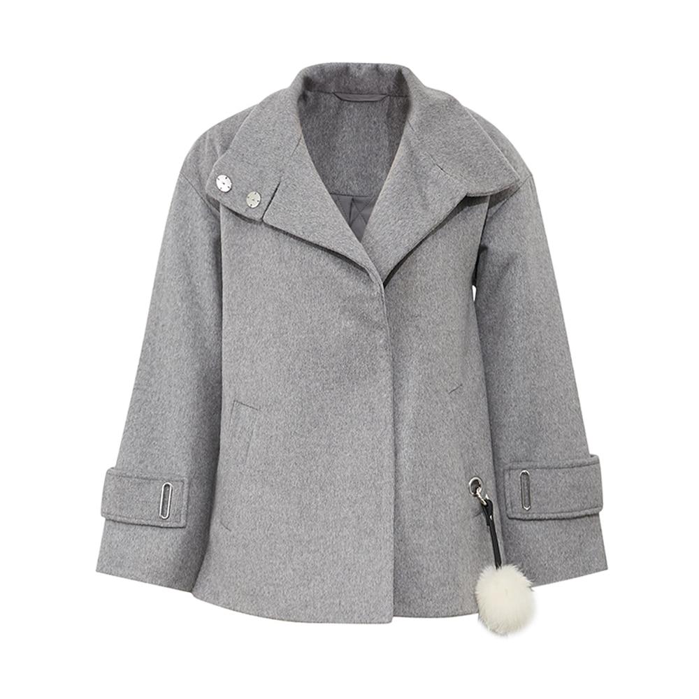 Women's light Winter Double Tweed Gray Manteau Laine Court Palm Metersbonwe face New Pardessus EUB1nqH