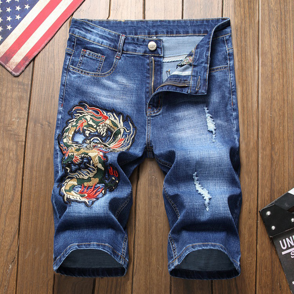 Men Embroidery Denim Shorts Short Jeans Fashion 2019 Summer Elasticity Hole Blue Black Casual Shorts Harajuku Denim Jeans Male