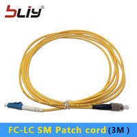 10pcs/bag 3.0mm 3 Meters SM Simplex FC/UPC to LC/UPC FC LC Fiber Optic Patch Cord patch cable with factory price