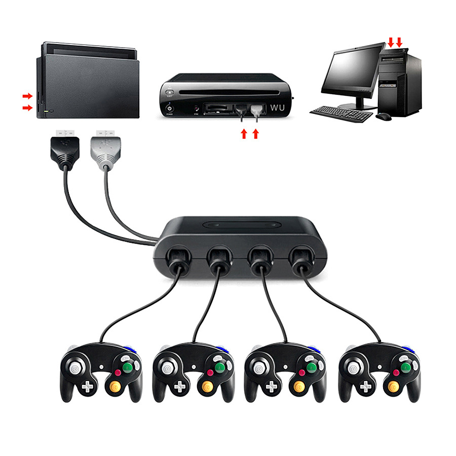 US $11 27 6% OFF|3in1 4 Ports for GameCube GCN Controllers USB Adapter  Converter for Nintend Switch/UWii/Emulator Dolphin PC Turbo/Home  Function-in