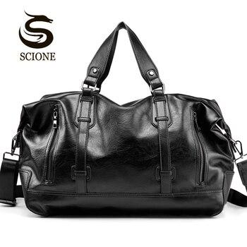 2018 Модные мужские дорожные багажные  водонепроницаемые вещевые сумки   Чемодан     Большая  ёмкость  емкости  Сумочка   из искусственной кожи
