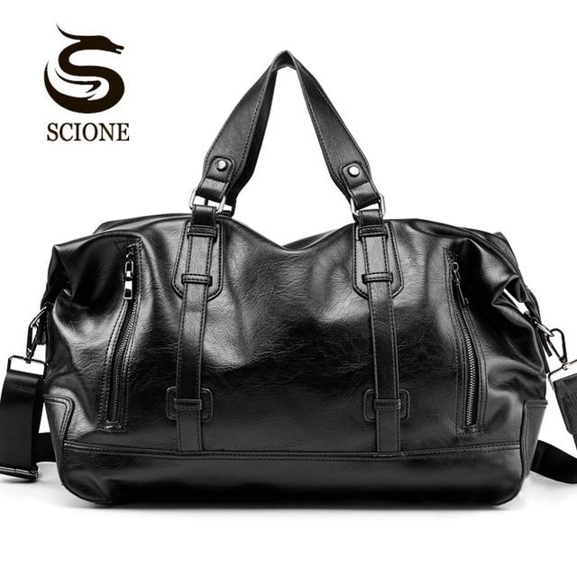 패션 남자 여행 가방 수하물 방수 가방 더플 백 큰 대용량 가방 캐주얼 대용량 PU 가죽 핸드백