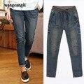 2016 primavera vaqueros de las mujeres de nueva moda delgado de la Alta cintura elástico de algodón pantalones azul Harem boyfriend jeans Sueltos Para Las Mujeres