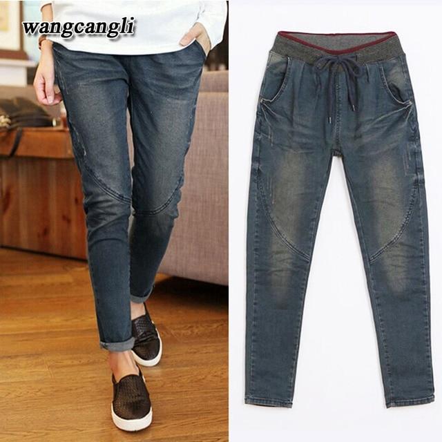 2016 spring women jeans new fashion slim High  waist cotton stretch blue Harem pants Loose boyfriend jeans For Women