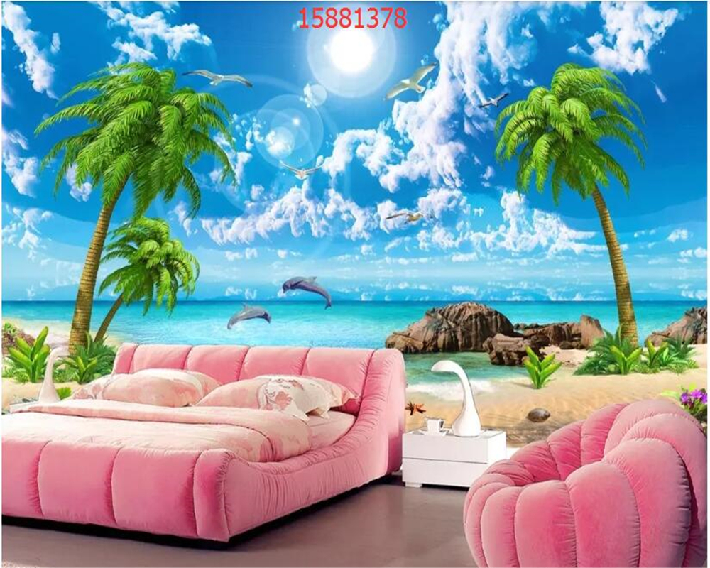 Us 885 41 Offbeibehang Custom Size Hd Beautiful Dreamy Image Seascape Coconut Tree Beach Landscape Tv Background Wall Wallpaper Behang In