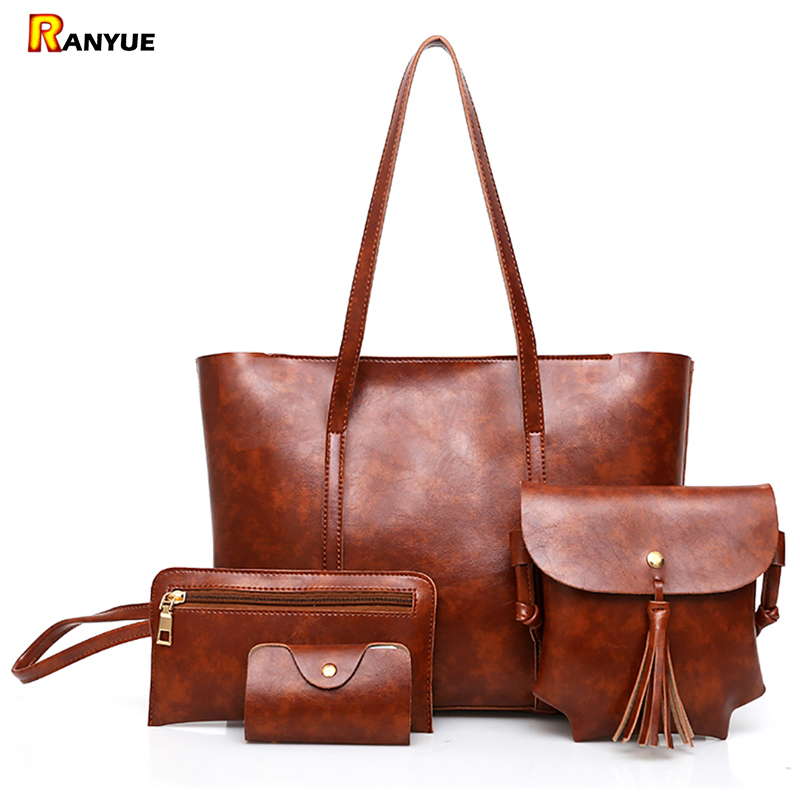 2017 New Fashion 4Pcs/Set Composite Bags Women Shoulder Bag Luxury Pu Leather Casual Female Totes Large Capacity Women Handbags luxury genuine leather bag fashion brand designer women handbag cowhide leather shoulder composite bag casual totes