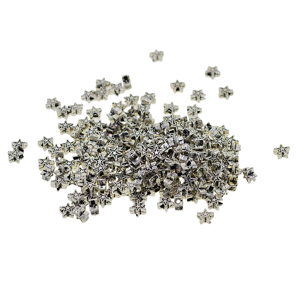 100pcs Tibetan Silver Star Shape Spacer Beads Threading Craft DIY Supplies Lacing Toy Accessories Findings Charms