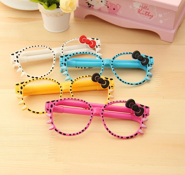 50sets lot 0 5mm Novelty Cute Hello Kitty Bowtie Funny Glasses Ballpen Writing Pens Face Decors