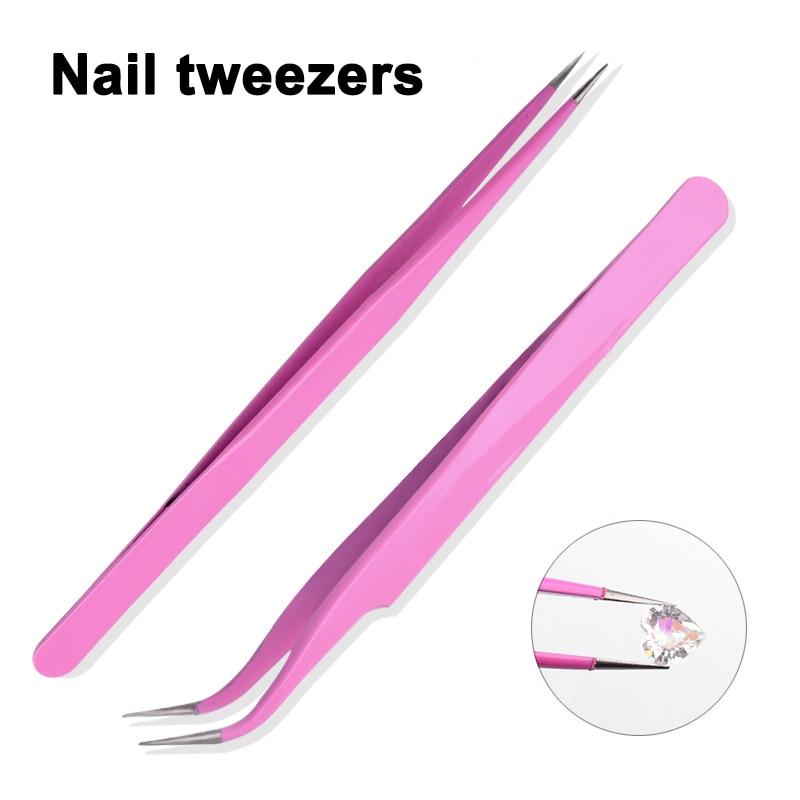 Straight Curved Tweezer Stainless Steel Nail Sticker Rhinestone Picker Eye Makeup Nail Art Tools
