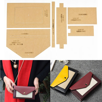 1set DIY Leather Handmade Craft women handbag Shoulder bag Sewing Pattern Hard Kraft paper Stencil Template 190X110X35MM