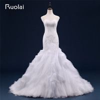 Sexy Heavy Beads Real Sweetheart Straps Tulle Mermaid Wedding Dresses Robe De Mariage Ruffles Bottom Bridal