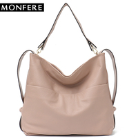 MONFERE Large Tote Bags Designer Brand Real Genuine Leather Women Handbags Roomy Big Bags Soft Casual Purse Worthy Messenger Bag
