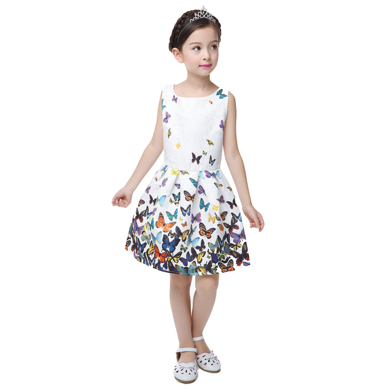Cute Summer Fashion Girl Dress Flower Print Sleeveless Party Princess Wedding Girls Dresses Tutu