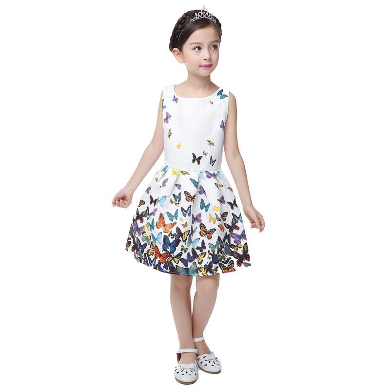 Cute Summer Fashion Girl Dress Flower Print Sleeveless