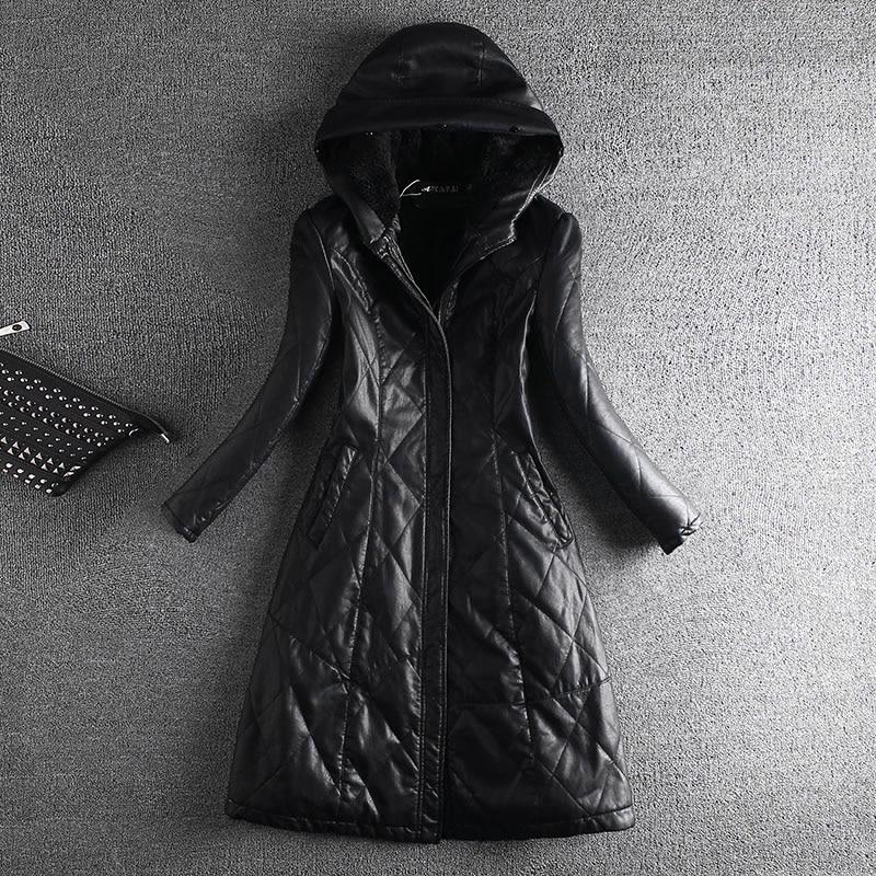 Hiver Collar Capuche Pu Manches Fourrure Moyen Épais 3 Vestes 1 Femme Fur With Long Faux Velours 2 Manteaux Automne Collar Avec Cuir Plus no Zipper Vraie Ol Collar Plein Collar 4 Slim No SaqId