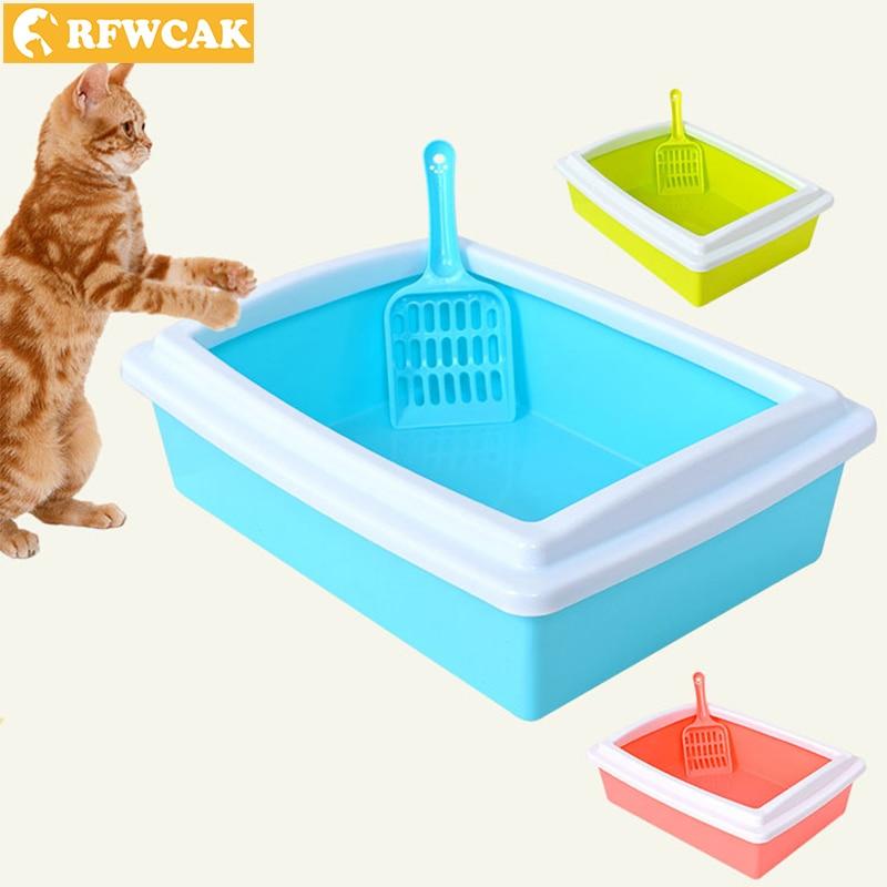 Rfwcak Portable Detachable Plastic Pet Litter Box Semi-closed Open Anti-splash Reusable Cat Bedpans Pet Toilet Cleaning Supplies