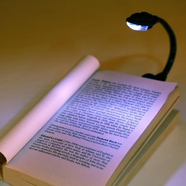 1pcs Mini Flexible Clip On Bright Book Light Laptop White Led Reading Lamp