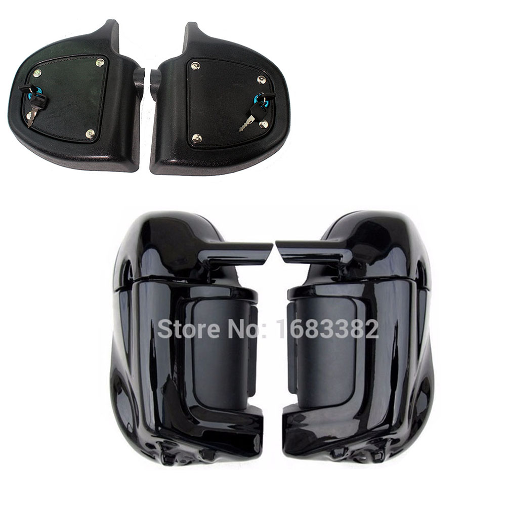 Motorcycle Painted Black Lower Vented Leg Fairings Set With Lock For Harley Road King Electra Glide FLHR FLHT Ultra Classic FLHT for harley touring painted vivid black lower vented leg fairing hardware road king flhr flht ultra classic 1983 2013