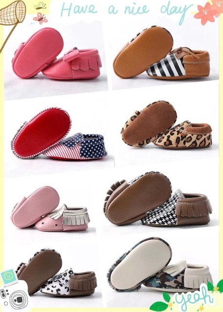 2016 A pair retail New arrived Genuine leather baby Moccasins Tassels Newborn First Walkers Soft infant Shoes