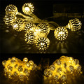 High Quality Golden Moroccan Orb LED String Lights Battery Operated With 30leds For Christmas Party Festival Decoration