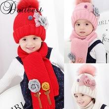 Doitbest/комплекты hailball beanies с цветочным принтом для детей от 3 до 8 лет, бархатные шерстяные вязаные меховые шапки для мальчиков, зимний комплект из 2 предметов, шарф и шапка для маленьких девочек