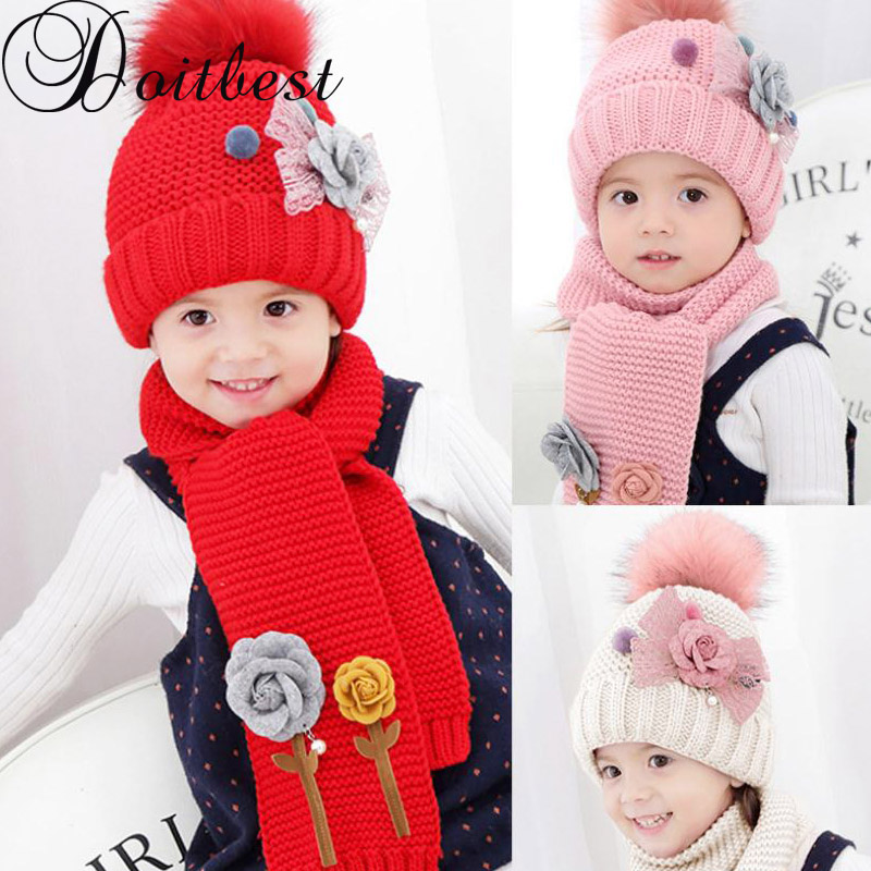 Doitbest Flower 3-8 Years Hailball Beanies Sets Velvet Wool Kids Boys Knit Fur Hats Winter 2 Pcs Baby Girl Scarf Hat Set