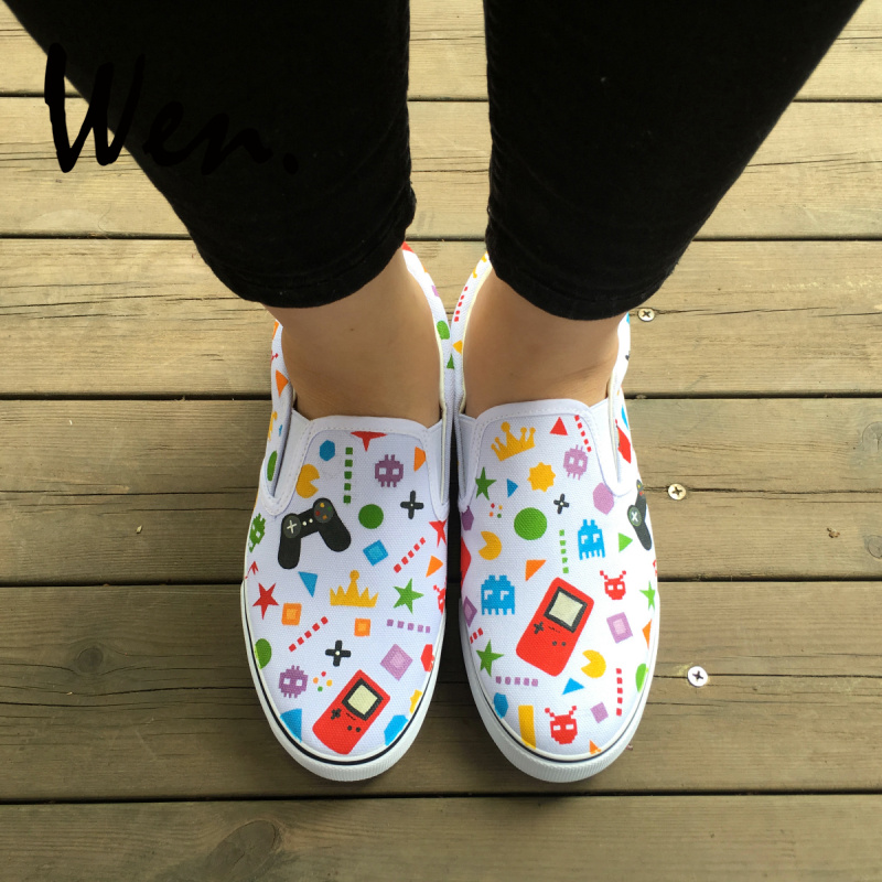 WEN Original Design Hand Painted Custom Game Console Various Plane Figures Flats Canvas Slip on Sneakers for Man Woman Presents
