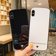 Plain Colorcase for iphone 6 6s 7 8 Plus heart printed Tempered Glass back case for iPhone X Xs Max XR white black simple color opera style protective pc back case for iphone 6 plus white blue multi color