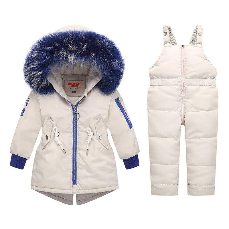 Russia Winter Clothing Sets Snow Jackets Pant 2pcs Set Baby Girls Duck Down Coats Jacket Blue Fur Hood Waterproof Infant Outwear