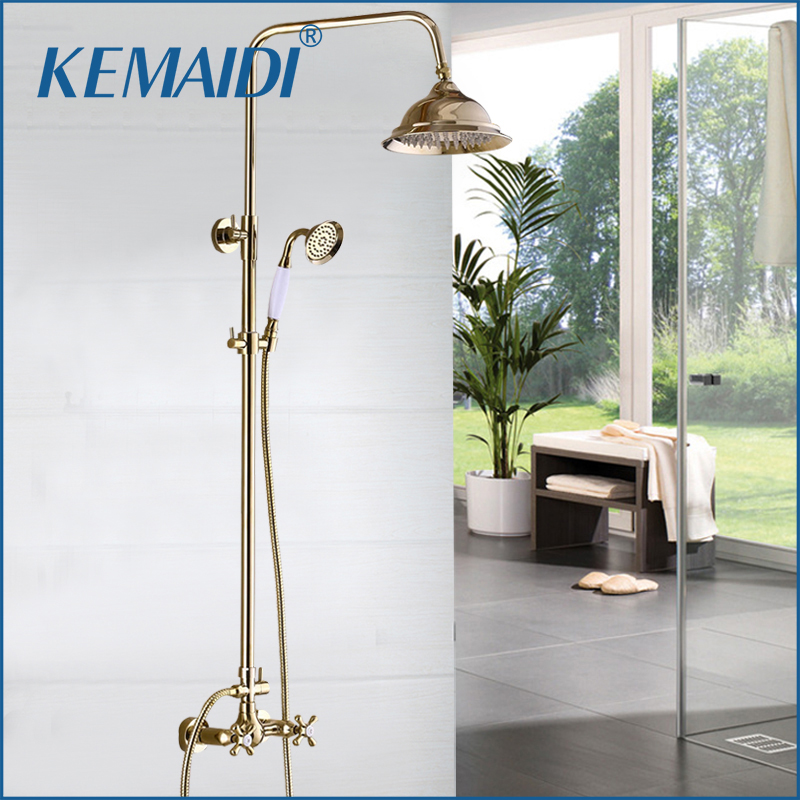 KEMAIDI Wholesale And Retail Luxury Gold Brass Shower Faucet Set Dul  Handle Tub Mixer Hand Shower Bathroom Tub Faucets Tap antique distress drawer knob bronze kitchen cabinet handle knob antique brass dresser cupboard furniture door knobs handles 30mm