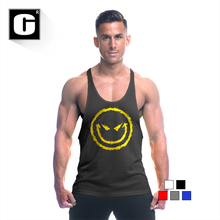 2016 summer time New males's tank tops bodybuilding stringer smile print tops health for males muscle tank tops