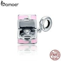 BAMOER 100 925 Sterling Silver Romantic Pink Box Marry Me Surprise Charm Pendant Fit Women Bracelet