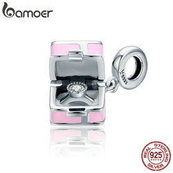 BAMOER 100% 925 Sterling Silver Romantic Pink Box Marry Me Surprise Charm Pendant fit Women Bracelet DIY Jewelry Making SCC549