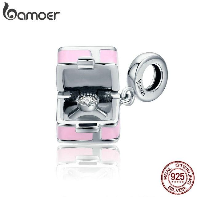 BAMOER 100% 925 Sterling Silver Romantic Pink Box Marry Me Surprise Charm Pendan