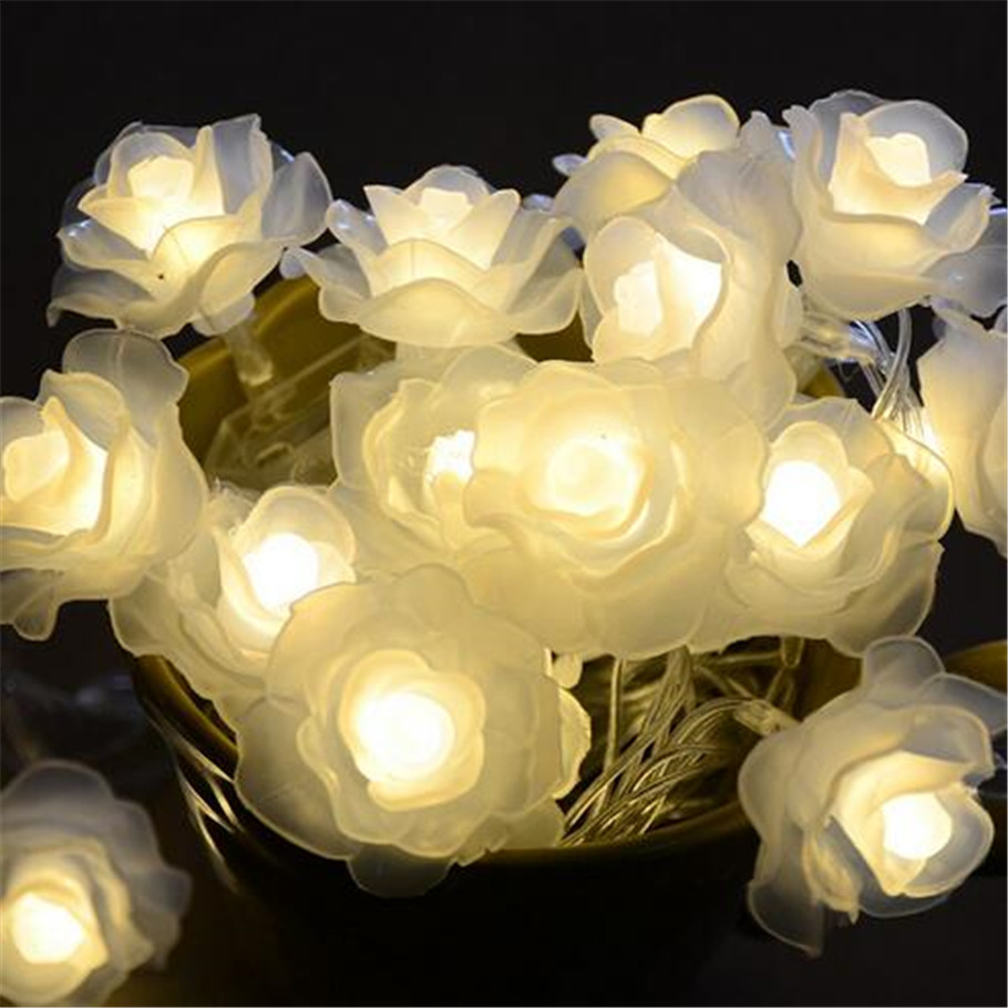 Led flower fairy lights 50led rose flower string lights wedding led flower fairy lights 50led rose flower string lights wedding garden party christmas decoration guirnalda luces rosa blanca in led string from lights mightylinksfo Image collections