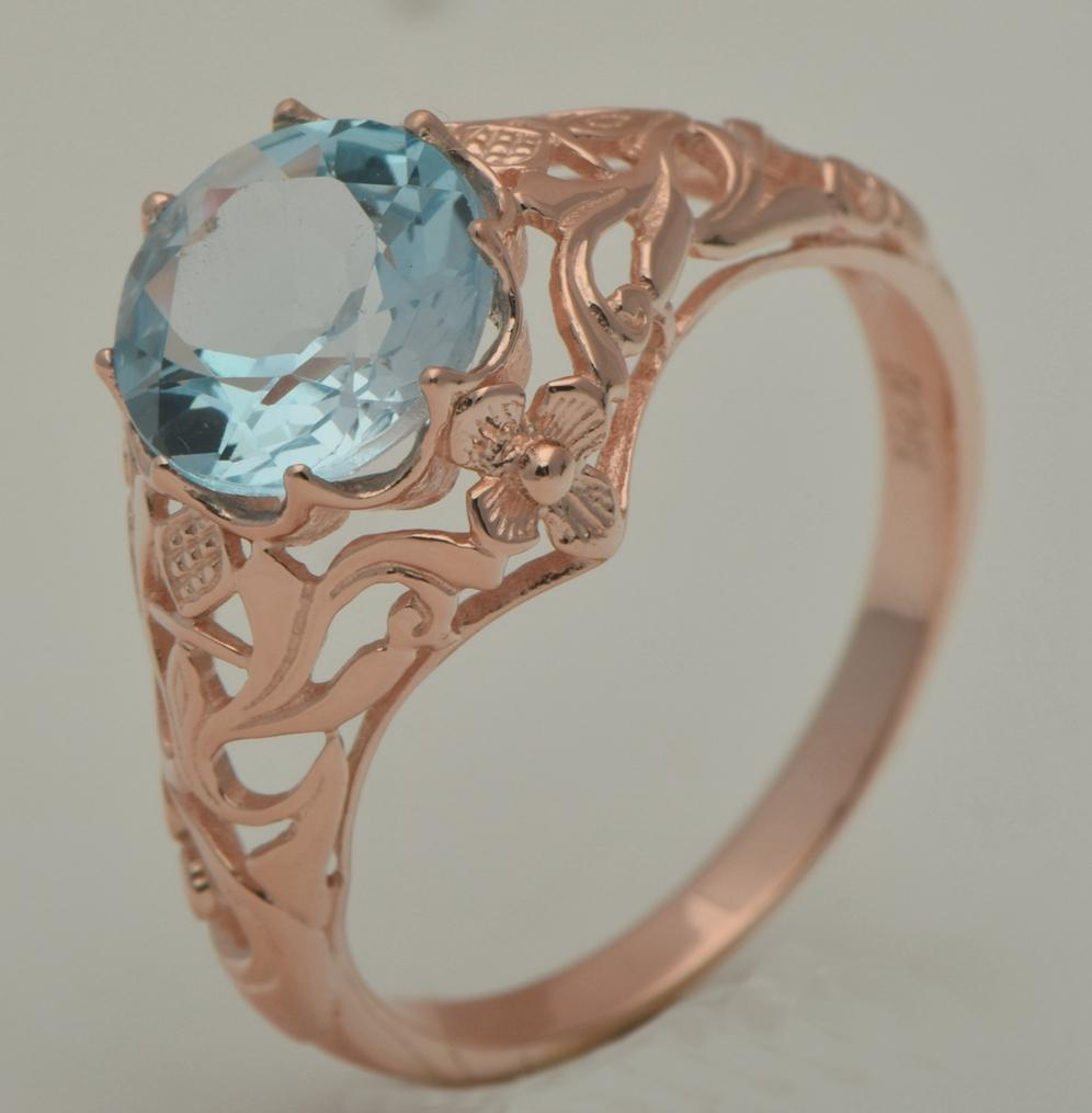 Livraison gratuite traitement personnalisé Victoria haute qualité sculpture fleur de luxe bague de mariage 14 k rose Jin Tianran aigue-marine anneau